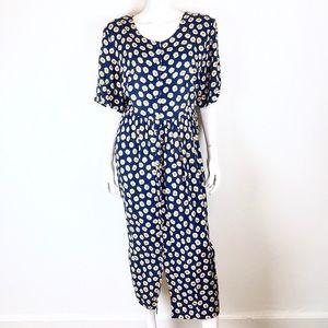 Vintage 90s navy blue yellow grunge daisy dress 18